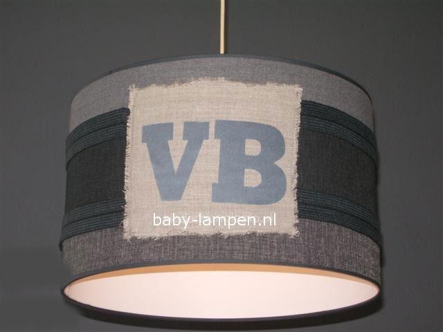 kinderlamp stoer beige grijs antraciet zilver letters