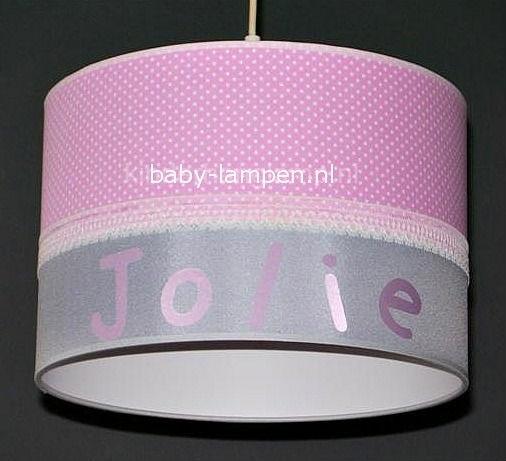 Kinderlamp met naam roze stipje en effen zilver
