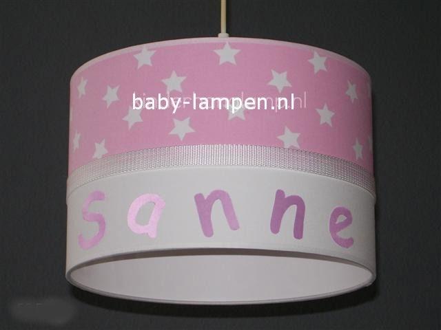 \kinderlamp met naam roze witte sterren
