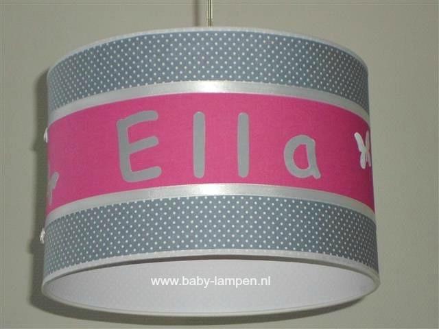 Kinderlamp Ella  grijs stipje en fuchsia