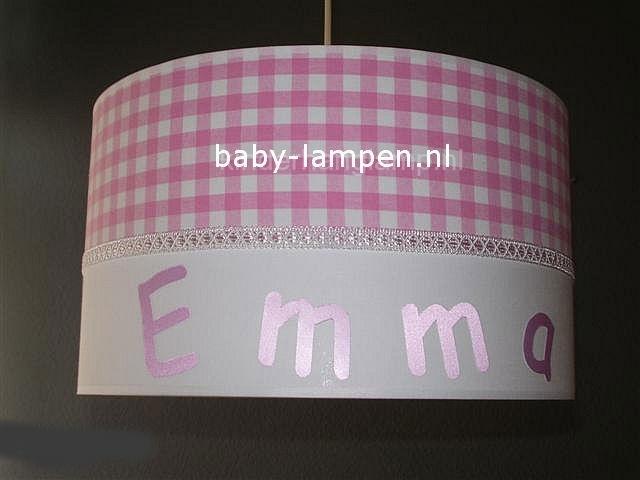 kinderlamp met naam roze ruitje