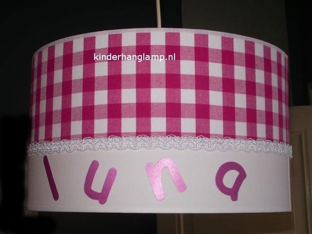 Kinderlamp met naam fuchsia ruit