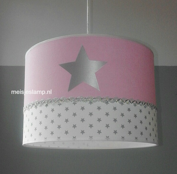 kinderlamp roze 3x zilver sterren