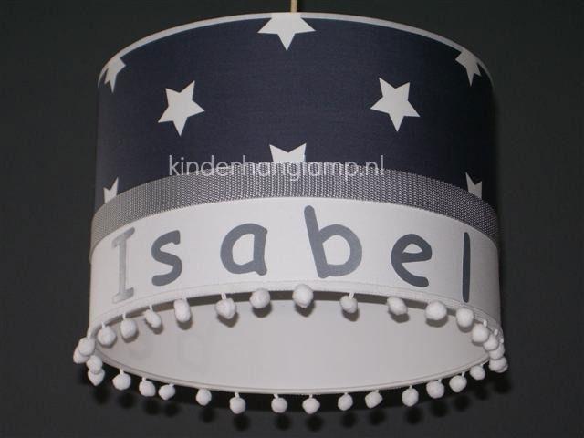 Kinderlamp met naam antraciet witte sterren en witte bolletjes