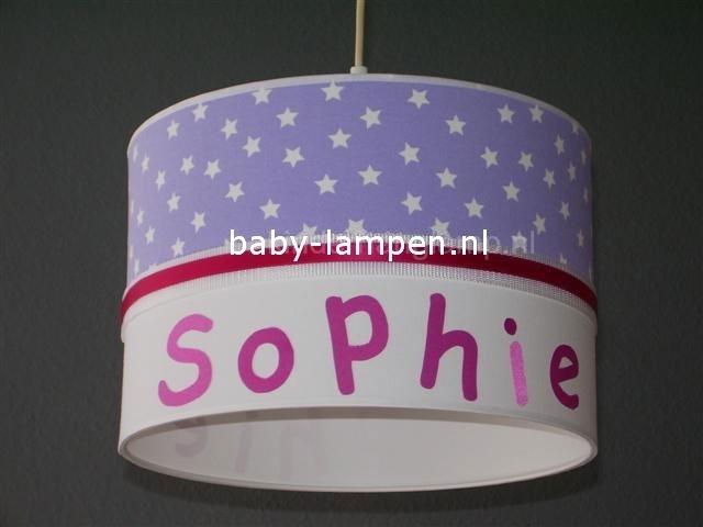 Kinderlamp met naam en lila sterren