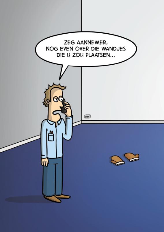 Postcard cartoon Wandjes