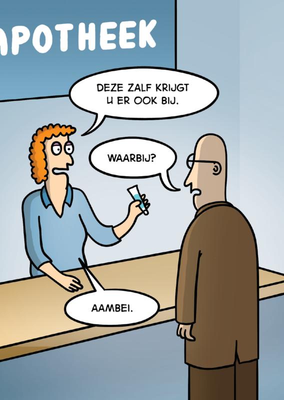 Postcard cartoon Aambei