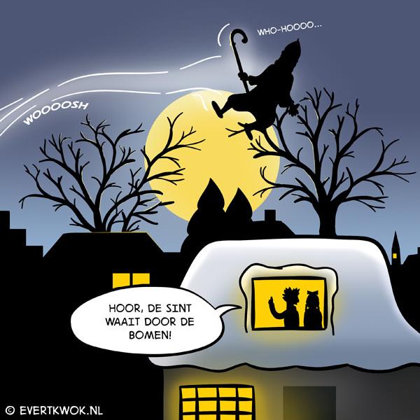 Hoor de Sint waait door de bomen cartoon Evert Kwok