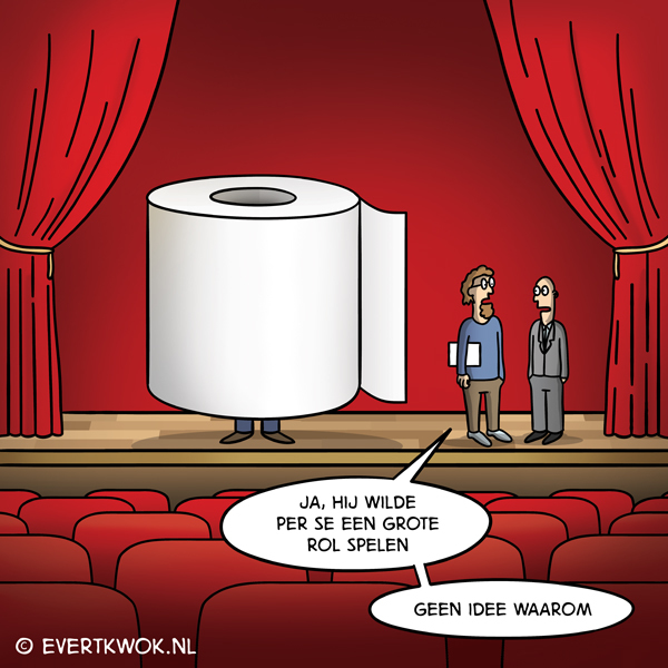 Evert Kwok cartoon - grote rol