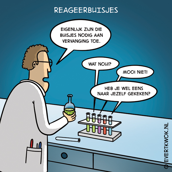 Evert Kwok cartoon - reageerbuisjes