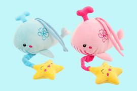 Toi-Toys pluche walvis met muziek roze en blauw