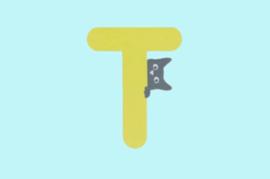 Houten letter T-decoratie kat-muur kinderkamer