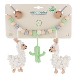 Sindibaba Kinderwagenketting  Lama wit/groen/grijs met rammelaar
