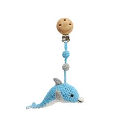 Sindibaba Kinderwagenclip  Dolfijn blauw/wit met rammelaar