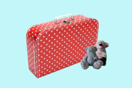 Koffertje rood met witte stippen