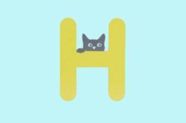 Houten letter H-decoratie kat-muur kinderkamer