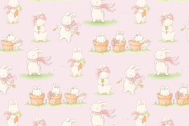 Cadeaupapier baby roze Bunnies by the bay