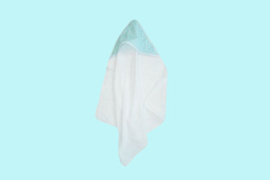 Cottonbaby badcape muts bus sterretje mint/wit