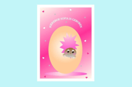 Poster babykamer geboorte baby meisje-Kiekeboe