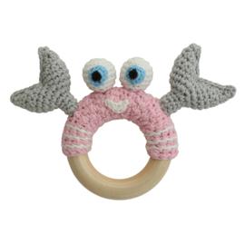 Sindibaba rammelaar-baby Krab roze/grijs