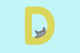Houten letter D-decoratie kat-muur kinderkamer