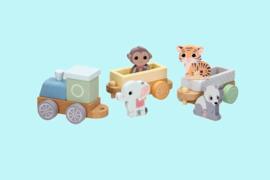 Jouèco Houten trein met wilde dieren