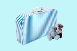 Koffertje blauw met witte strepen