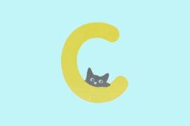 Houten letter C-decoratie kat-muur kinderkamer