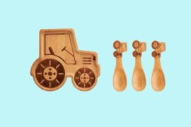kinderservies bamboe traktor_Sass & Belle Bamboo Plate & Spoons Woodland Tractor