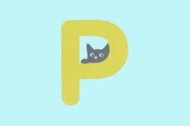 Houten letter P-decoratie kat-muur kinderkamer