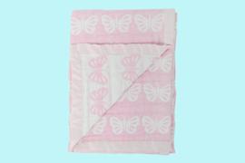 Silvercloud roze deken met vlinders