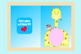 Poster babykamer geboorte baby jongen met giraffe-naamcadeau