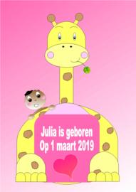 Poster babykamer geboorte baby meisje met giraffe-naamcadeau