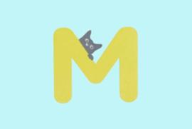 Houten letter M-decoratie kat-muur kinderkamer