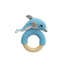 Sindibaba rammelaar-baby Dolfijn blauw