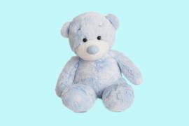 Aurora Baby zittende beer roze en blauw 28 cm