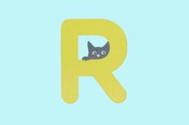 Houten letter R-decoratie kat-muur kinderkamer