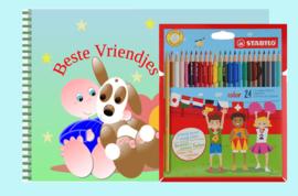 Kleurboek peuter - gepersonaliseerd - W - Beste Vriendjes