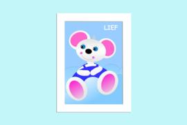Beste Vriendjes poster babykamer Muisje Lief op blauwe wolk