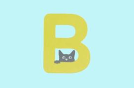 Houten letter B-decoratie kat-muur kinderkamer