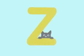 Houten letter Z-decoratie kat-muur kinderkamer