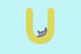Houten letter U-decoratie kat-muur kinderkamer