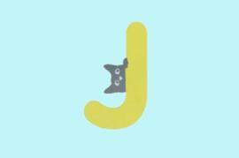 Houten letter J-decoratie kat-muur kinderkamer
