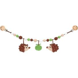Sindibaba Kinderwagenketting  Egel bruin/groen met rammelaar
