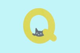 Houten letter Q-decoratie kat-muur kinderkamer