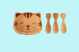 kinderservies bamboe tijger_Sass & Belle Bamboo Plate & Spoons Woodland Tiger