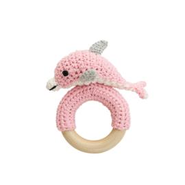 Sindibaba rammelaar-baby Dolfijn roze