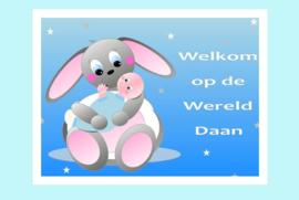 Poster babykamer geboorte baby jongen-Welkom op de Wereld