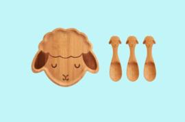 kinderservies bamboe schaap_Sass & Belle Bamboo Plate & Spoons Woodland Lamb