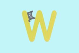 Houten letter W-decoratie kat-muur kinderkamer